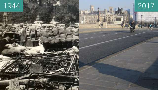 Before-and-after picture of Pont Neuf (Liberation of Paris) between 08/1944 and 2017-Jan-26