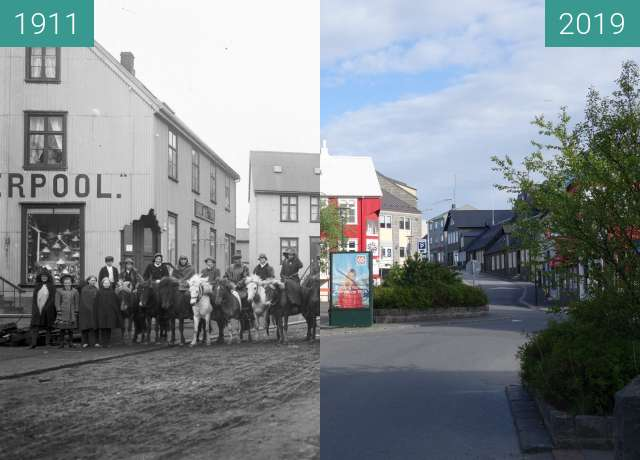 Before-and-after picture of Vesturgata between 1911 and 2019-May-28