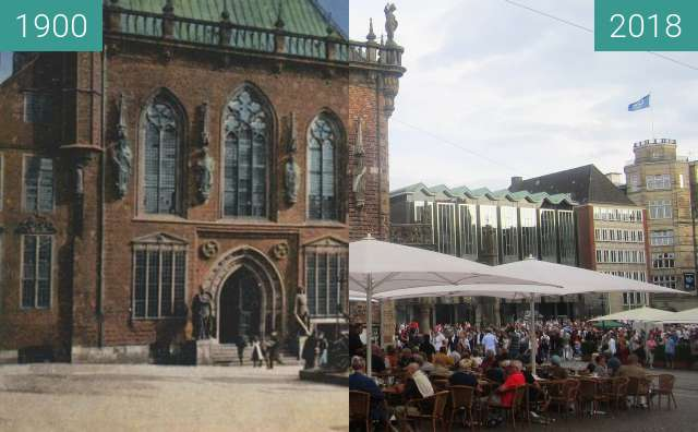 Before-and-after picture of Bremer Rathaus between 1900 and 2018-Aug-18