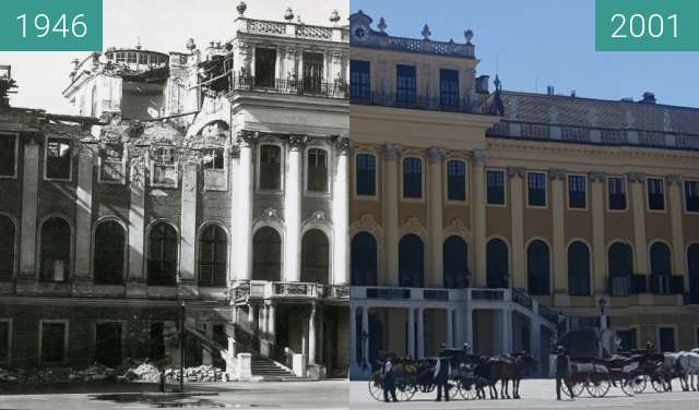 Before-and-after picture of Bombed Schönbrunn between 1946 and 2019