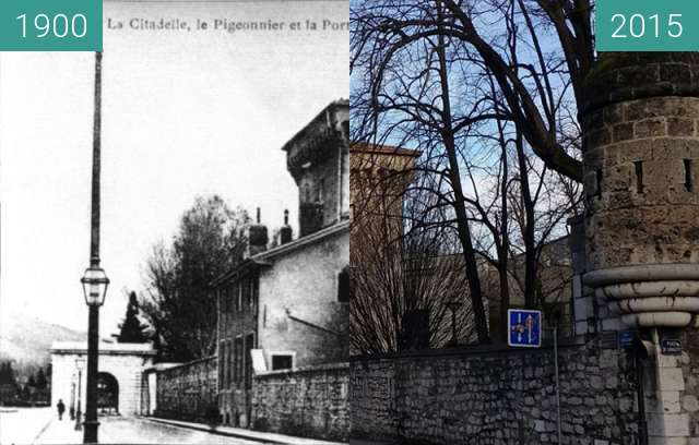 Before-and-after picture of Grenoble | Quai Jongkind : Porte de l'Ile Verte.  between 1900 and 2015
