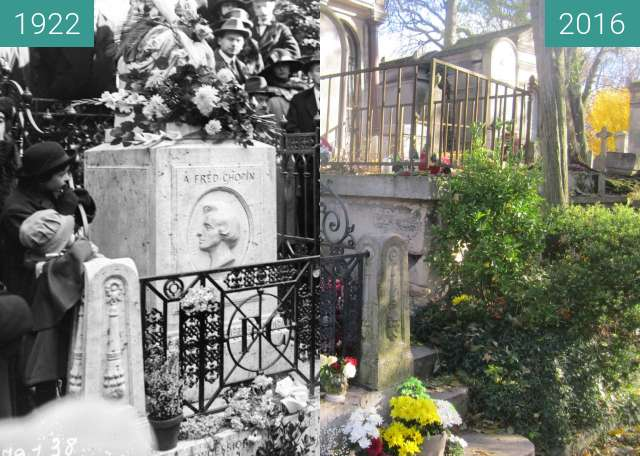 Before-and-after picture of Tomb of Chopin between 1922-Oct-22 and 2016-Nov-19