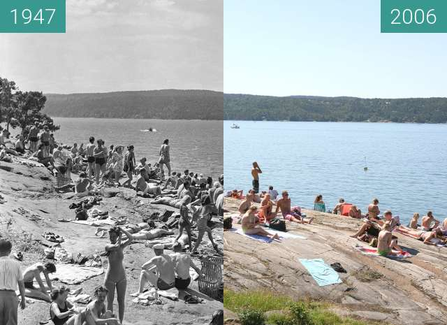 Before-and-after picture of Ingierstrand between 1947 and 2006