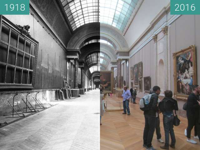 Before-and-after picture of Grande Galerie du Louvre between 1918 and 2016-Oct-16