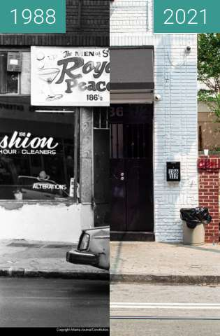 Before-and-after picture of Auburn Avenue: The Royal Peacock between 1988-Feb-02 and 09/2021