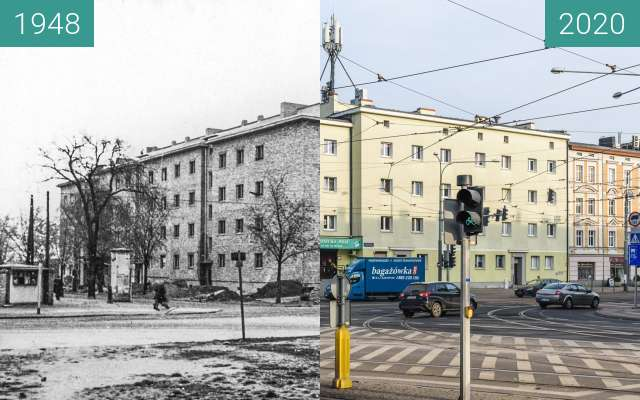 Before-and-after picture of Ulica Dąbrowskiego between 1948 and 2020