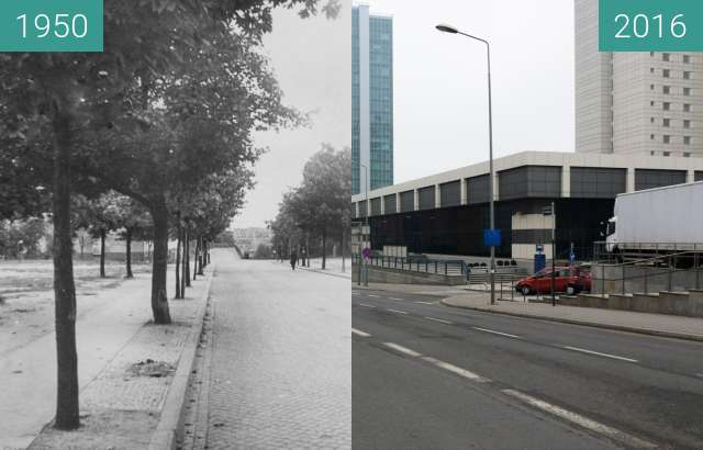 Before-and-after picture of Ulica Kościuszki between 1950 and 2016