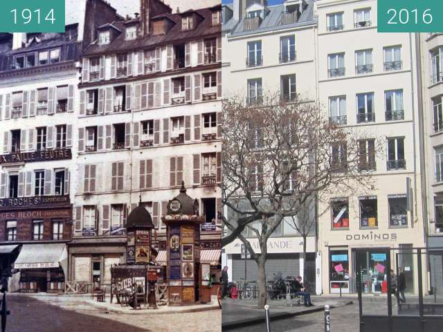 Before-and-after picture of Place du Caire between 1914 and 2016-Apr-03