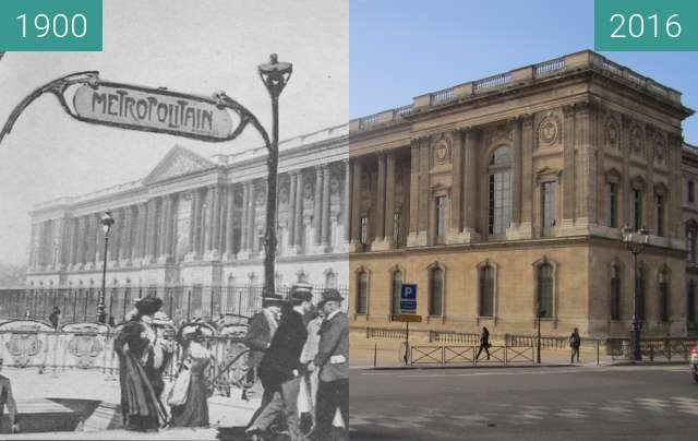 Before-and-after picture of Louvre between 1900 and 2016-Jan-04