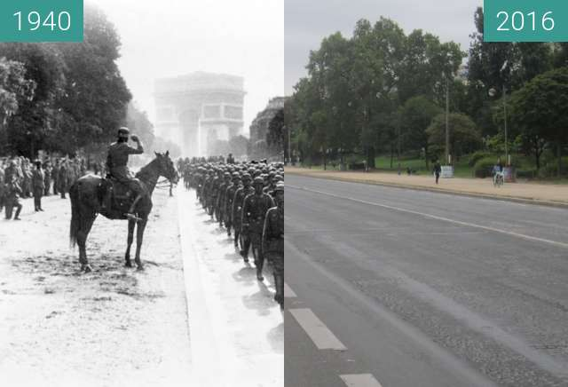 Before-and-after picture of Avenue Foch (Occupation of Paris) between 1940-Jun-14 and 2016-Sep-25