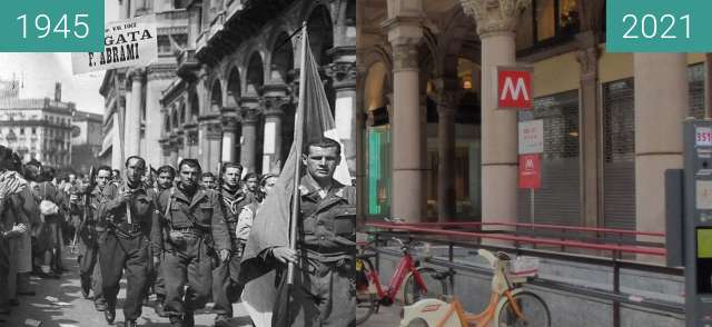 Before-and-after picture of Mailand, Piazza del Duomo 1945 between 1945-Apr-25 and 2021-Aug-22