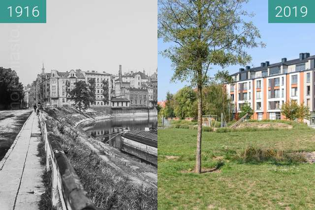 Before-and-after picture of Stare koryto Warty between 1916 and 2019