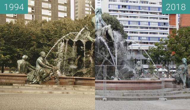 Before-and-after picture of Berlin-Neptunbrunnen between 1994 and 2018-Aug-05