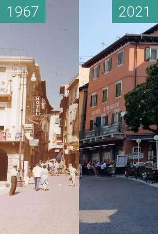 Before-and-after picture of Gardasee, Malcesine between 1967 and 2021-Jul-23