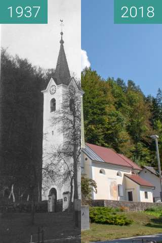 Before-and-after picture of St Michael's Church, Duplje between 1937 and 2018-Aug-16