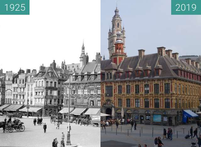 Before-and-after picture of Vieille Bourse between 1925 and 2019-Apr-06