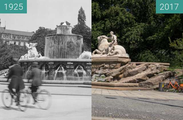 Before-and-after picture of Wittelsbacher Brunnen  München between 1925 and 2017-Aug-05