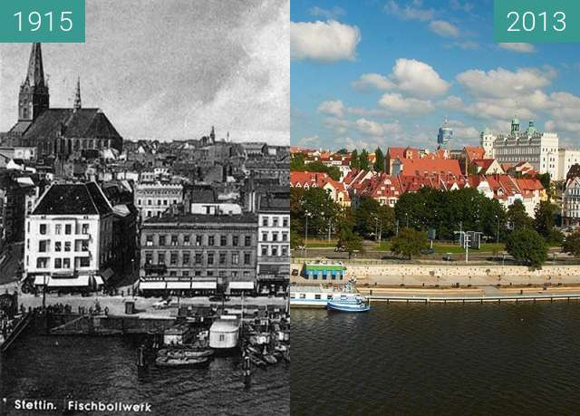 Before-and-after picture of Nabrzeże/Bollwerk between 1915 and 2013