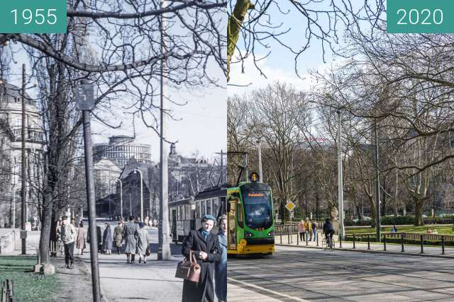 Before-and-after picture of Ulica Fredry between 1955 and 2020-Mar-08