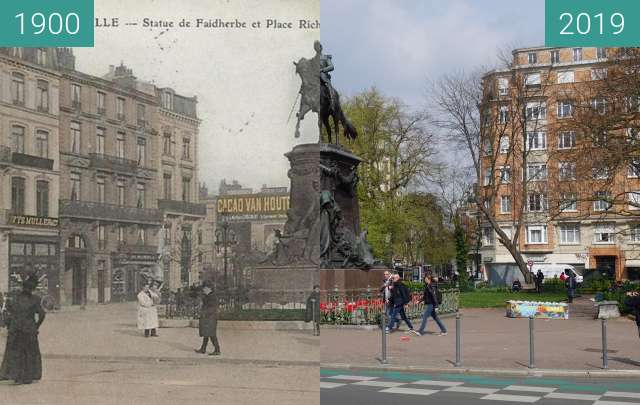 Before-and-after picture of Statue du Général Faidherbe between 1900 and 2019-Apr-06