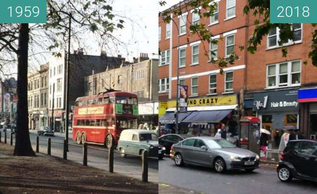 Before-and-after picture of shepherds bush between 1959 and 2018-Aug-26