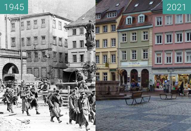 Before-and-after picture of Heidelberg; Herkulesbrunnen between 1945 and 2021-Oct-06