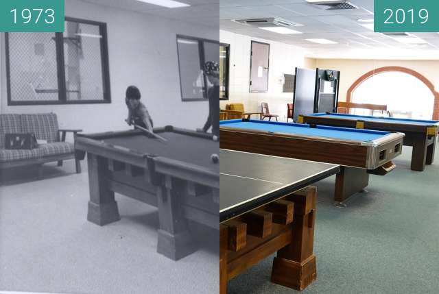 Before-and-after picture of Playing Pool at the JohnH. Uihlien (UC) Recreation between 1973 and 2019-Feb-09