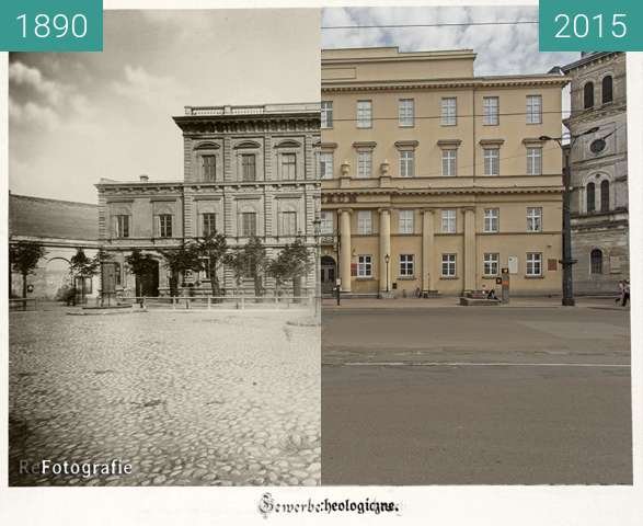 Before-and-after picture of Old Industrial School, today Archeological Museum  between 1890 and 2015