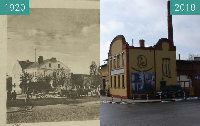 Before-and-after picture of Old dairy Żnin between 1920 and 02/2018