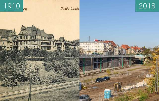 Before-and-after picture of Ulica Roosevelta / Budde Strasse between 1910 and 2018