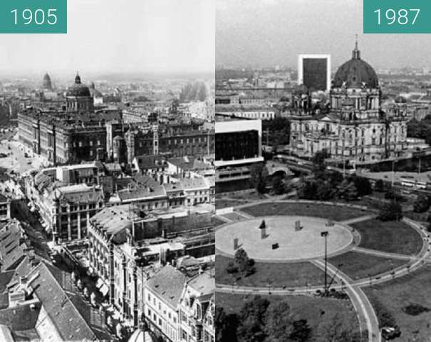 Before-and-after picture of Berlin - ehem. Marienviertel between 1905 and 1987