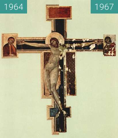 Before-and-after picture of Crucifix (Cimabue, Santa Croce) between 1964 and 1967