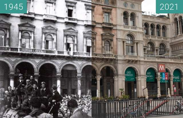 Before-and-after picture of Mailand, Piazza del Duomo between 1945-Apr-28 and 2021-Aug-22
