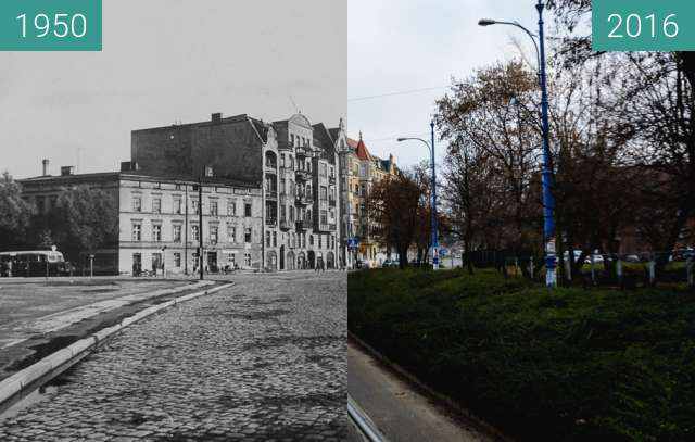 Before-and-after picture of Dowbora Musnickiego street between 1950-Nov-30 and 2016-Nov-30
