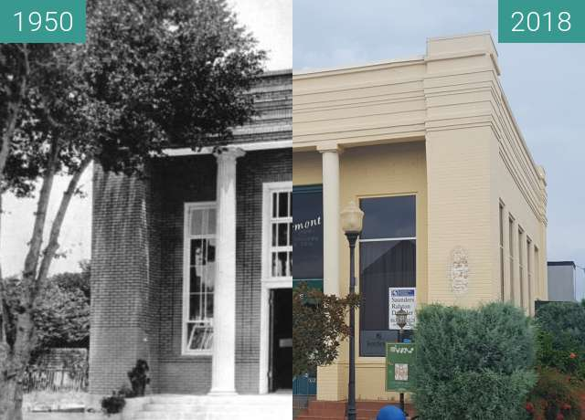 Before-and-after picture of Old Bank - Clermont, FL between 1950 and 2018-Aug-14
