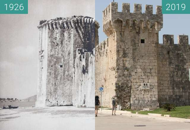 Before-and-after picture of Fort Kamerlengo, Trogir 1926 vs. 2019 between 1926 and 2019-Apr-24