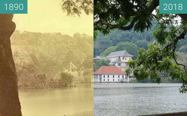 Before-and-after picture of Kandy Lake & Temple of the Tooth between 1890 and 2018-Apr-22