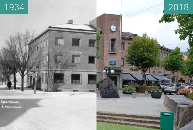 "Before-and-after picture of ""Asker Sparebank"" 1934, Asker, Norway between 1934 and 2018-Aug-18"