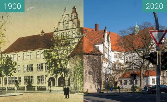 Before-and-after picture of Rathsgymnasium between 1900 and 03/2020
