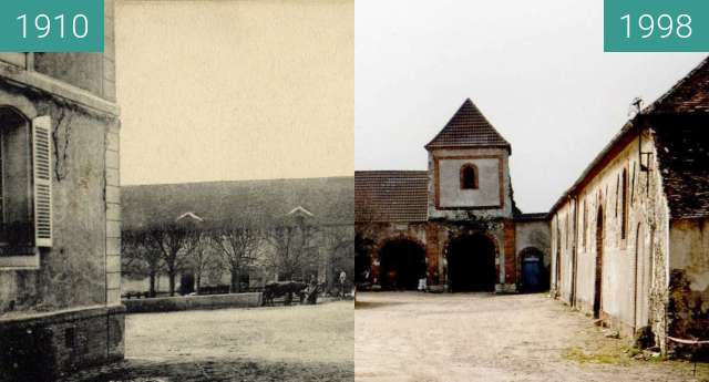 Before-and-after picture of grande ferme between 1910 and 1998