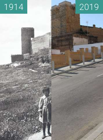 Before-and-after picture of Castillo de Alcalá de Guadaíra near Sevilla, Spain between 1914 and 2019-Jun-20
