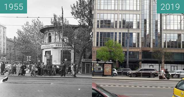 Before-and-after picture of Budapest, Astoria, 1 Múzeum Boulevard. between 1955 and 2019-Apr-22