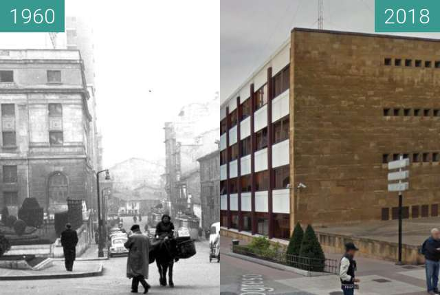 Before-and-after picture of Calle Progreso, Oviedo, Asturias between 1960 and 12/2018