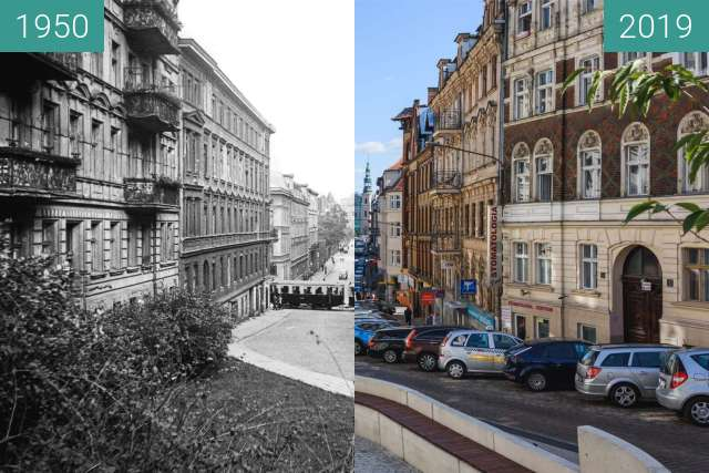 Before-and-after picture of Ulica Ogrodowa between 1950 and 2019
