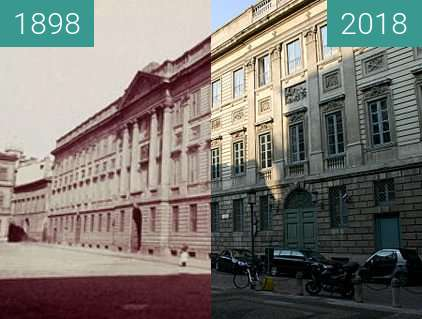 Before-and-after picture of Palazzo Belgioioso between 1898 and 2018
