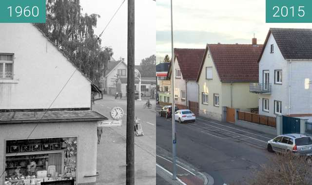 Before-and-after picture of Speyerer Strasse in Schifferstadt between 02/1960 and 2015-Nov-25