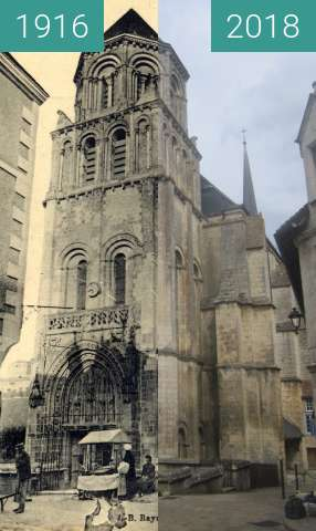 Before-and-after picture of Église St. Radegonde between 1916 and 2018-Jul-18