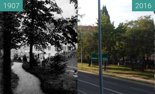 Before-and-after picture of Leopoldring mit Uhligsberg between 1907 and 2016