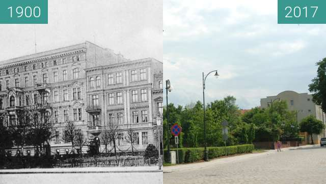 Before-and-after picture of Kołłątaja (Wingenstrasse) / Piekarska (Wilhelmspl) between 1900 and 2017