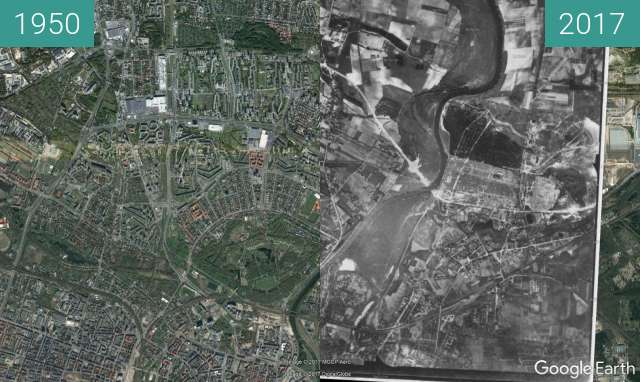 Before-and-after picture of Fort Winiary, aerial view between 1950 and 2017